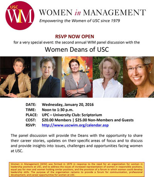 January 20, 2016 RSVP closes this week (Friday, 1/15) for Women Deans of USC luncheon