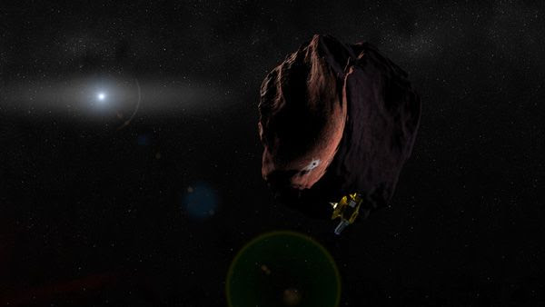 An artist's concept of NASA's New Horizons spacecraft flying past a Kuiper Belt Object.