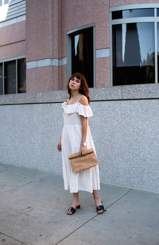 Le Fashion Blog Courtney Trop Oversized Clutch Ruffle Dress Black Flats Via Always Judging