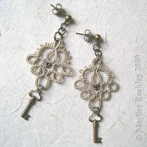 tatted, lace, earrings, jewelry, key, ivory, bronze