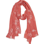 Sheer Soft Cloth Floral Embroidered Flower Summer Shawl Scarf Wrap Rose Coral