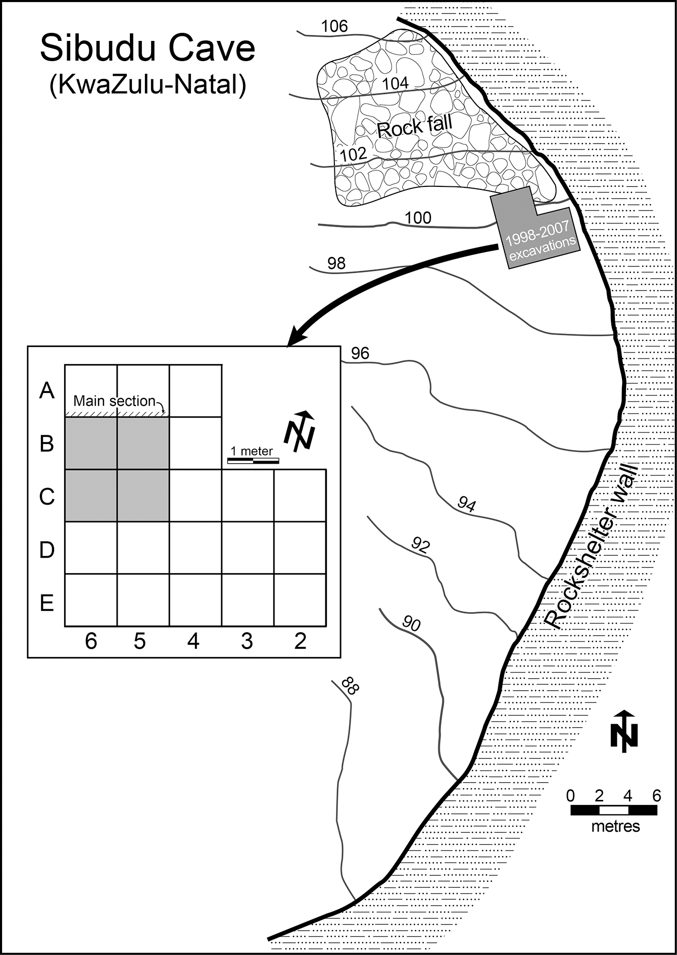 Fig 2.  Sibudu: Plan of the site with elevations in meters above sea level, the excavation grid and location of main section.