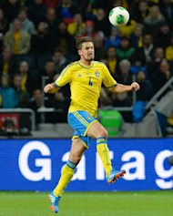 Sweden's Per Nilsson pictured during their World Cup qualifier against Austria on October 11, 2013 in Solna