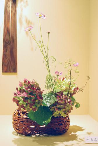 Ikebana Ohara in a bamboo basket with hydrangea by Otomodachi