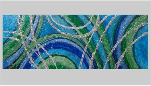 Quadri Moderni Colorati. Colori all\'acqua su tela. I toni del verde ...