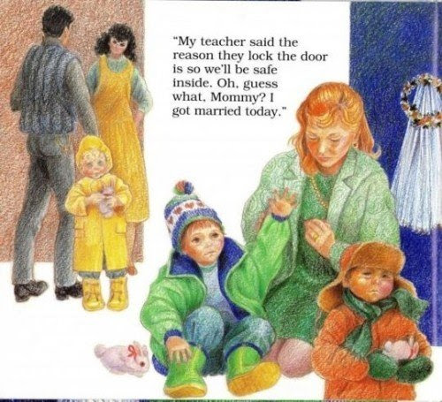 """This creepy vignette mentions children being locked in. More importantly, the child says that he """"got married today"""". Behind the mother we see a children's wedding veil. Although not explicitly stated, this vignette refers to SRA victims becoming """"brides of Satan"""" through a terrifying ritual conducted by the handlers."""