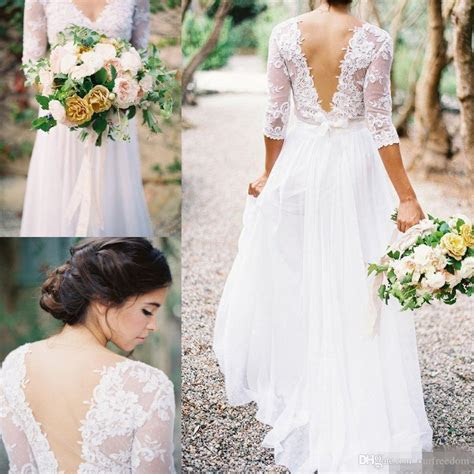 Discount 2016 Cheap Lace V Neck Wedding Dresses See Though
