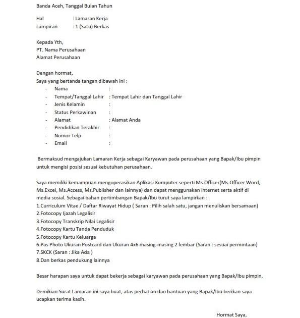 Contoh Application Letter Ke Rumah Sakit Contoh Lif Co Id