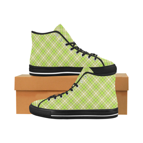 Seamless wall-paper, plaid, sand and lime Vancouver H Men's Canvas Shoes (1013-1)