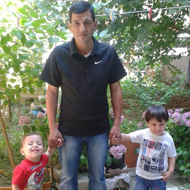 Galip (right), five, and Aylan Kurdi (left), three, pictured with their father Abdullah who survived the tragedy