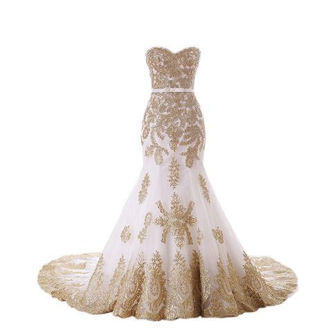 2017 Amazing White With Gold Lace Applique Mermaid Wedding