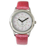Personalize: Girly Pink Floral Circle of Tulips Wrist Watches