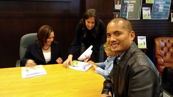 About to get an autograph by U.S. Senator Kamala Harris inside Barnes & Noble bookstore at The Grove in Los Angeles...on January 13, 2019.