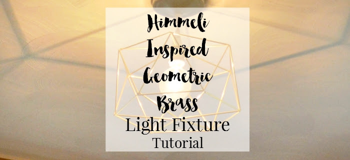 home office craft DIY space with DIY himmeli inspired brass geometric light fixture