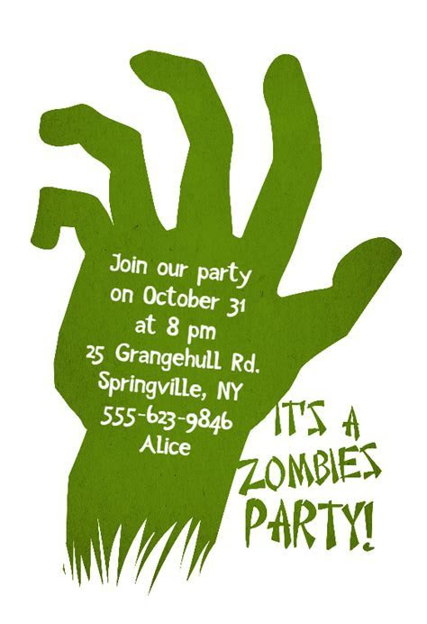 Zombies Party   Halloween Party Invitation Template (Free