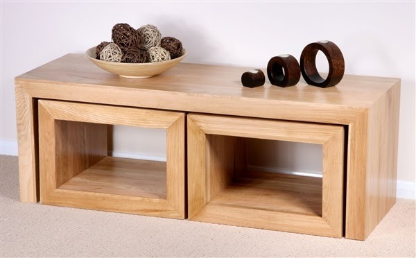Nero Solid Oak 3 Cube Nest of Tables