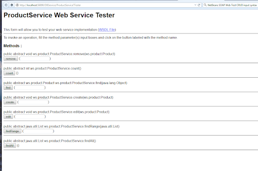 Web page input (find range) to Test Web Service in a NetBeans SOAP app
