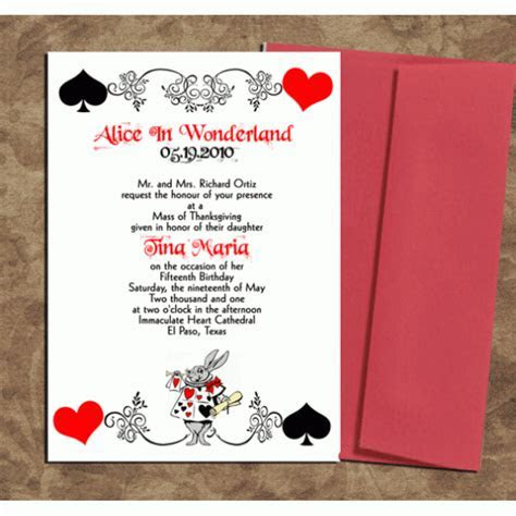 Alice in Wonderland Card Deck Style Invitations
