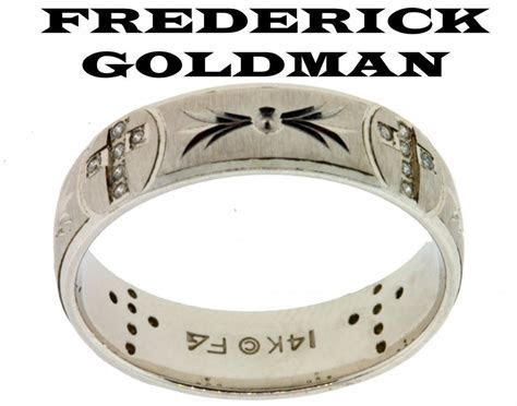 Frederick Goldman men's .12ct diamond cross wedding band