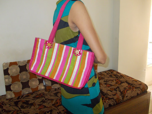 Natural Mini Jute Sweet Tote Bag with Pink Orange White and Green Striped