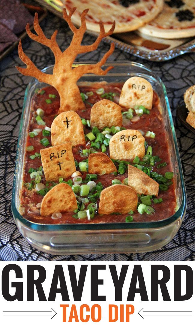 Spooky and delicious! Try out Graveyard Taco Dip for your Halloween festivities