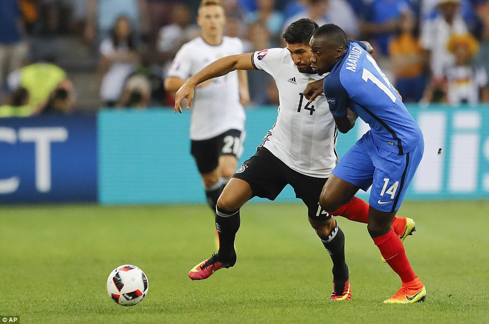 Matuidi battles for possession with Emre Can, who was drafted in for his first start at Euro 2016 by Germany coach Joachim Low