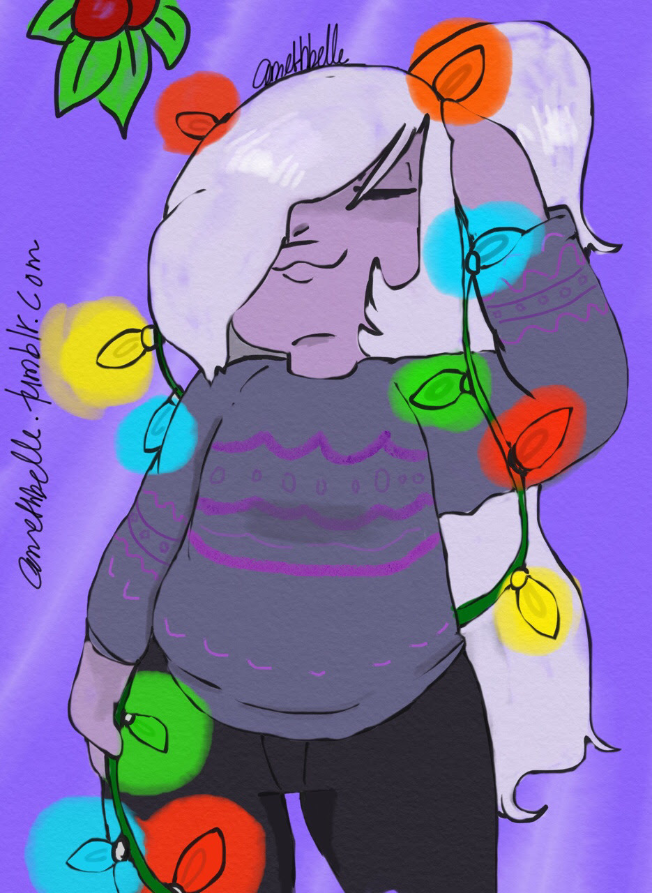 And I got it done in one day. :) Amethyst is feeling festive too..