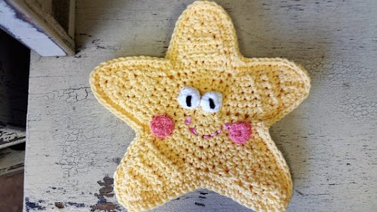 Yellow Star Bath Mitt  Crocheted Bath Mitt by heffernanscrafts