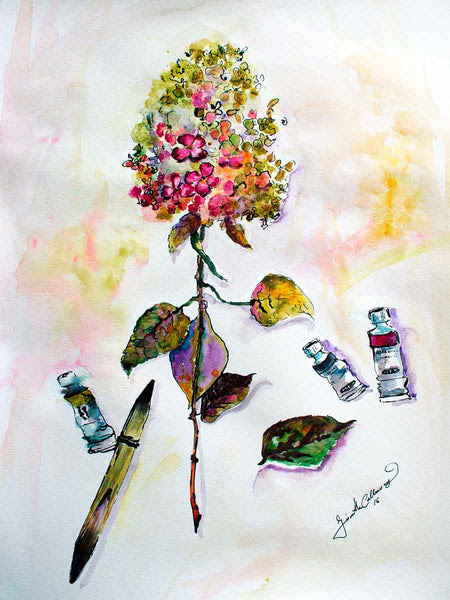 Hydrangea and Paint Tubes Still Life Original Watercolor and Ink