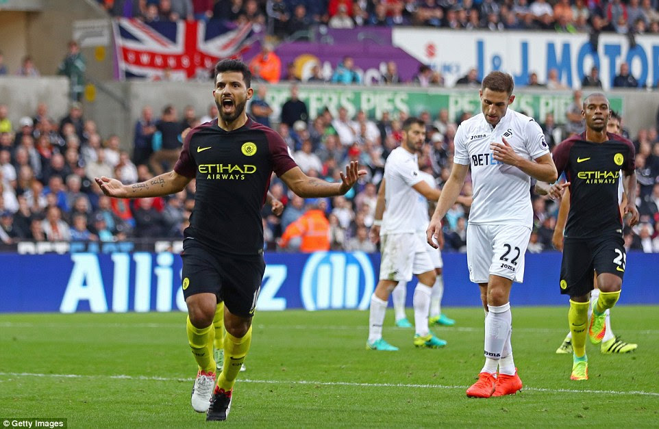 Sergio Aguero scored two goals as Manchester City won 3-1 away at Francesco Guidolin's Swansea