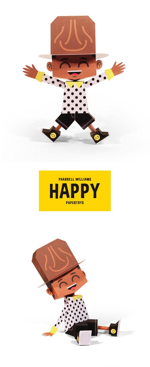 Pharrell Williams Papercraft Happy