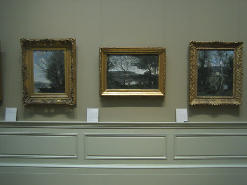 The Ferryman  (left),Ville-d'Avray, c. 1865, A Woman Gathering Faggots at  Ville-d'Avray (right), c. 1871-74, Camille Corot _8410