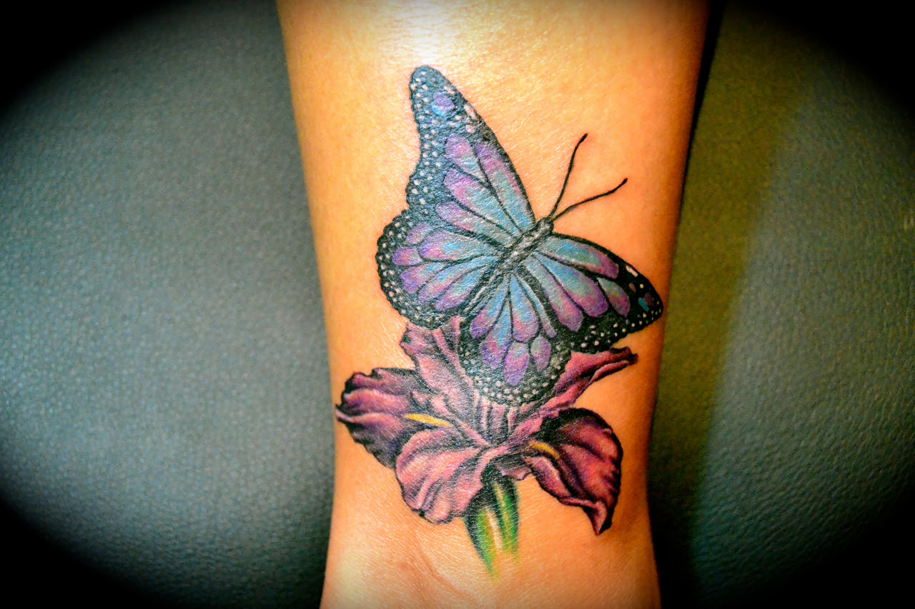 Butterfly And Flower Iris Tattoo