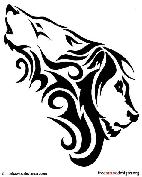 tattoo design combination   wolf   lion tattoos