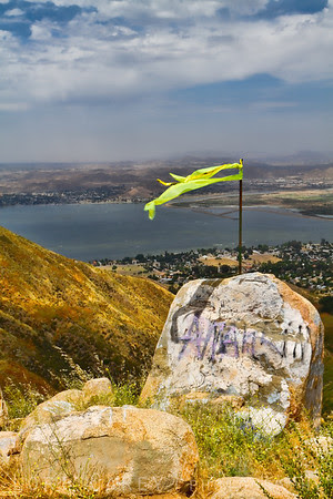 View from the hang glider/parasailing launch zone along South Main Divide/Killen Truck Trail, overlooking Lake Elsinore, in the Cleveland National Forest, California, USA.