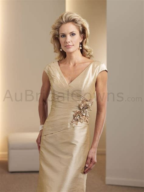 Possible Mother of the bride dress: Silk Shantung V neck