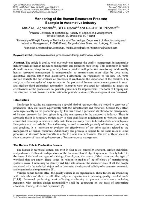 Monitoring of the Human Resources Process: Examples in