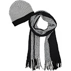 Luxury Divas Mens Black and White Hounds Tooth Winter Knit Hat and Scarf Set
