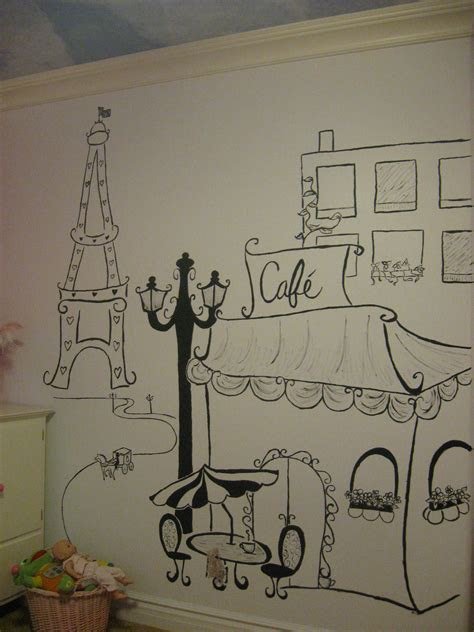 hand drawn wall art paris themed room purdy potties