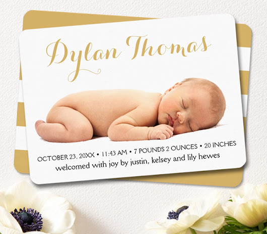 Simple Elegance Custom Photo Birth Announcement