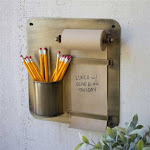 Antique Brass Hanging Note Roll with Pencil Cup