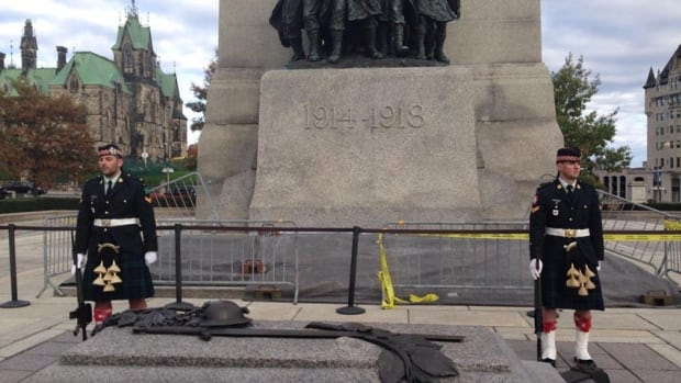 Twitter user @kamakazi19982 posted this photo online Wednesday morning with the message 'OK, so we were on a tour at that war monument in Ottawa a few minutes ago, a few seconds later there was a shooting.'