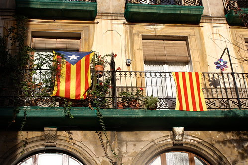 Catalan flag & Catalan independence flag, Barcelona, Spain