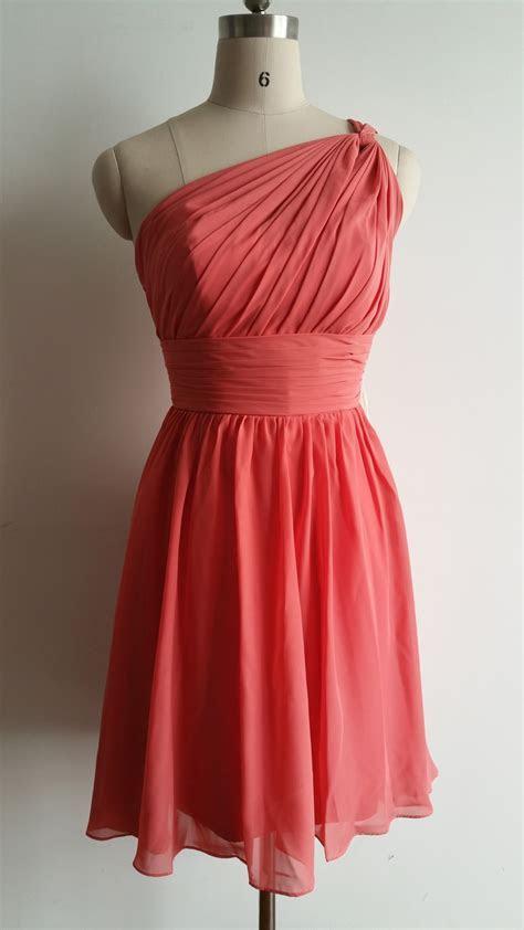Elegant One Shoulder Knee Length Formal Gown Coral Chiffon