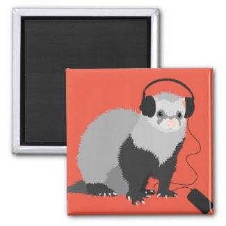 Funny Music Lover Ferret 2 Inch Square Magnet