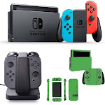 Nintendo Switch 32GB Console with Joy-Con (Blue&Red) with Charging Dock & Lime Green Skin