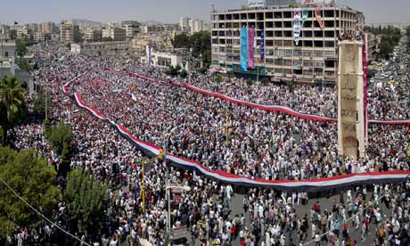 Protesters in Hama on 22 July 2011