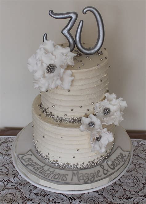 30th Wedding anniversary cake. Silver, white. Sugar