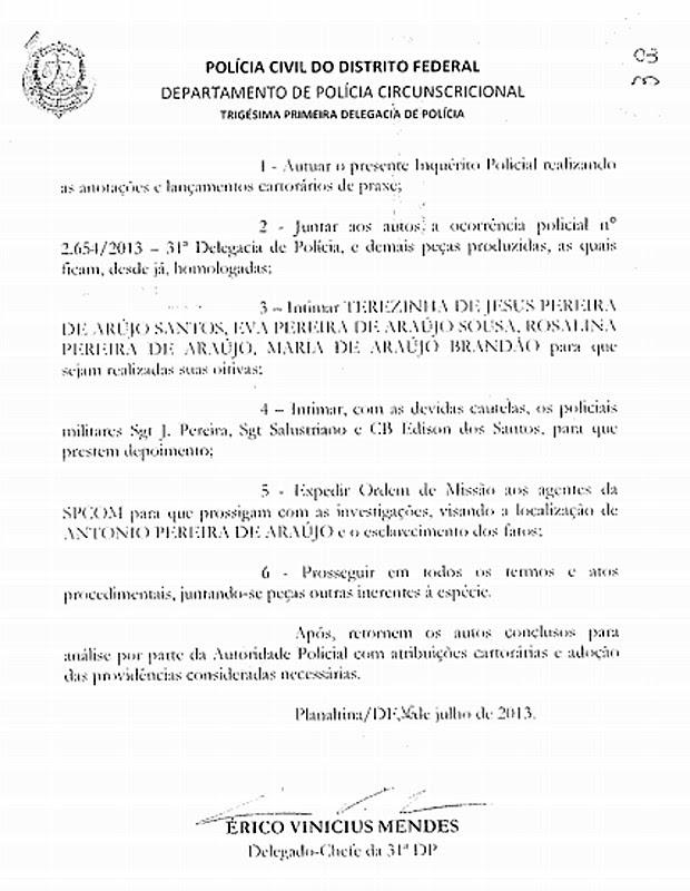 Inquérito para investigar a morte de Antônio de Araújo só foi aberto pela Polícia Civil no dia 16 de Julho de 2013, 49 dias após ser comunicada do desaparecimento do auxiliar de serviços gerais (Foto: G1 / Reprodução)