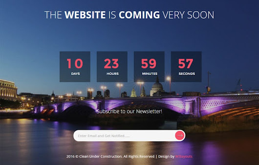 Clean Under Construction Flat Responsive Web Template